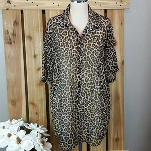 Zara Animal Print Button Down Blouse